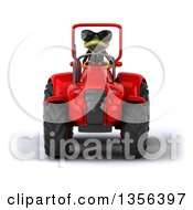 Clipart Of A 3d Green Business Frog Wearing Sunglasses And Operating A Red Tractor On A White Background Royalty Free Illustration