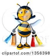 Clipart Of A 3d Female Bee Carrying Shopping Bags On A White Background Royalty Free Illustration