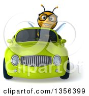 3d Bespectacled Male Bee Driving A Green Convertible Car On A White Background