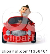 Clipart Of A 3d Short White Businessman Driving A Red Convertible Car On A White Background Royalty Free Illustration