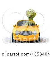 Clipart Of A 3d Crocodile Driving A Yellow Convertible Car On A White Background Royalty Free Illustration