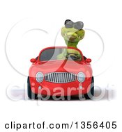 Clipart Of A 3d Crocodile Wearing Sunglasses And Driving A Red Convertible Car On A White Background Royalty Free Illustration by Julos