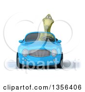 Clipart Of A 3d Green Dinosaur Driving A Blue Convertible Car On A White Background Royalty Free Illustration