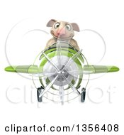 Clipart Of A 3d Sheep Aviatior Pilot Flying A Green Airplane On A White Background Royalty Free Illustration by Julos