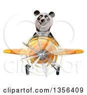 Clipart Of A 3d Business Panda Flying A Yellow Airplane On A White Background Royalty Free Illustration by Julos