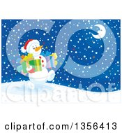 Clipart Of A Christmas Snowman Carrying Gifts And Walking On A Snowy Night Royalty Free Vector Illustration