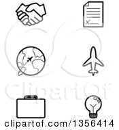 Clipart Of Black And White Lineart Business And Travel Icons Royalty Free Vector Illustration