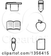 Clipart Of Black And White Lineart Educational Icons Royalty Free Vector Illustration by Cory Thoman