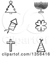 Clipart Of Black And White Lineart Christmas Hanukkah Fourth Of July St Patricks Day Easter And New Year Or Birthday Holiday Icons Royalty Free Vector Illustration