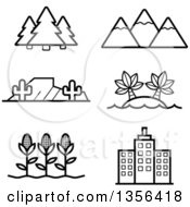 Clipart Of Black And White Lineart Nature Agriculture And Architecture Icons Royalty Free Vector Illustration