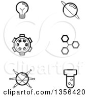 Clipart Of Black And White Lineart Science Icons Royalty Free Vector Illustration