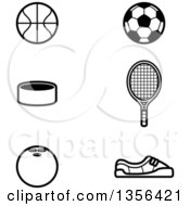 Clipart Of Black And White Lineart Baskketball Soccer Tennis Hockey And Bowling Sports Icons Royalty Free Vector Illustration
