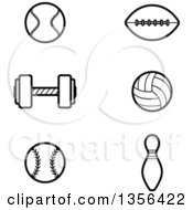 Clipart Of Black And White Lineart Tennis Football Weightlifting Volleyball Baseball And Bowling Sports Icons Royalty Free Vector Illustration by Cory Thoman