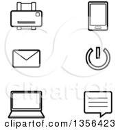Clipart Of Black And White Lineart Computer Technology Icons Royalty Free Vector Illustration by Cory Thoman