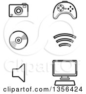 Clipart Of Black And White Lineart Computer And Gadget Technology Icons Royalty Free Vector Illustration by Cory Thoman