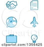 Clipart Of Blue Business And Travel Icons Royalty Free Vector Illustration