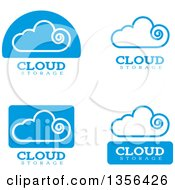 Clipart Of Blue Cloud Storage Computing Icons Royalty Free Vector Illustration