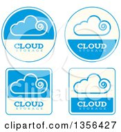 Clipart Of Blue And Beige Cloud Storage Computing Icons Royalty Free Vector Illustration