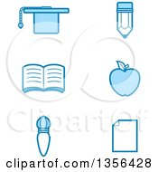 Clipart Of Blue Educational Icons Royalty Free Vector Illustration