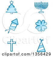 Clipart Of Blue Christmas Hanukkah Fourth Of July St Patricks Day Easter And New Year Or Birthday Holiday Icons Royalty Free Vector Illustration