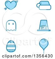 Clipart Of Blue Valentine Christmas Halloween Thanksgiving Easter And Birthday Holiday Icons Royalty Free Vector Illustration