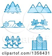 Clipart Of Blue Nature Agriculture And Architecture Icons Royalty Free Vector Illustration