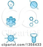 Clipart Of Blue Science Icons Royalty Free Vector Illustration