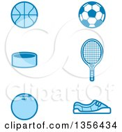 Clipart Of Blue Baskketball Soccer Tennis Hockey And Bowling Sports Icons Royalty Free Vector Illustration by Cory Thoman