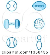 Clipart Of Blue Tennis Football Weightlifting Volleyball Baseball And Bowling Sports Icons Royalty Free Vector Illustration by Cory Thoman