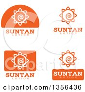Clipart Of White And Orange Suntan Lotion Icons Royalty Free Vector Illustration