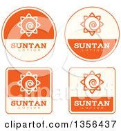 Clipart Of Beige And Orange Suntan Lotion Icons Royalty Free Vector Illustration