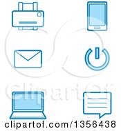 Clipart Of Blue Computer Technology Icons Royalty Free Vector Illustration