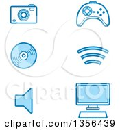 Clipart Of Blue Computer And Gadget Technology Icons Royalty Free Vector Illustration
