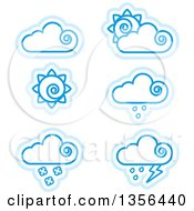 Clipart Of Blue Cloud And Sun Weather Icons Royalty Free Vector Illustration