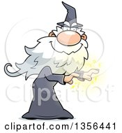 Clipart Of A Carton Male Wizard Casting A Spell Royalty Free Vector Illustration