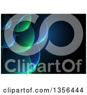 Clipart Of A Background Of Transparent Green And Blue Bubbles With Text Space Royalty Free Vector Illustration by dero