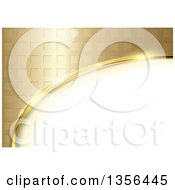 Clipart Of A Background Of A Partial Oval Frame With Gold Tiles Royalty Free Vector Illustration
