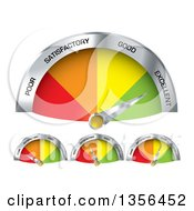 Clipart Of 3d Colorful Performance Gauge Indicators Rancing From Poor To Excellent Royalty Free Vector Illustration
