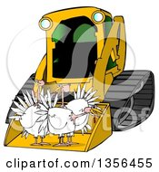 Yellow Bobcat Skid Steer Loader With Turkeys In The Bucket