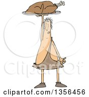 Clipart Of A Cartoon Caveman Holding Up A Roasted Turkey On A Platter Royalty Free Vector Illustration