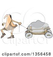 Clipart Of A Cartoon Caveman Pulling A Boulder On A Cart Royalty Free Vector Illustration
