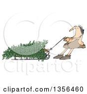 Cartoon Caveman Pulling A Christmas Tree On A Sled