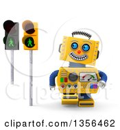 Clipart Of A 3d Happy Yellow Retro Robot Glancing At Green Pedestrian Traffic Lights On A White Background Royalty Free Illustration