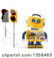 Clipart Of A 3d Surprised Yellow Retro Robot Looking Up At Red Pedestrian Traffic Lights On A White Background Royalty Free Illustration