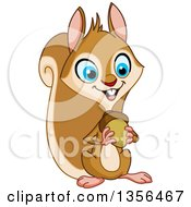 Cartoon Happy Blue Eyed Squirrel Holding An Acorn Nut