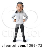 3d Young Arabian Male Chef On A White Background
