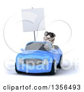 Clipart Of A 3d White Tiger Wearing Sunglasses Holding A Blank Sign And Driving A Blue Convertible Car On A White Background Royalty Free Illustration