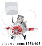 Clipart Of A 3d White Tiger Aviator Pilot Wearing Sunglasses Holding A Blank Sign And Flying A White And Red Airplane On A White Background Royalty Free Illustration
