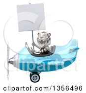 Clipart Of A 3d White Tiger Aviator Pilot Holding A Blank Sign And Flying A Blue Airplane On A White Background Royalty Free Illustration