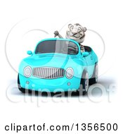 Clipart Of A 3d White Tiger Giving A Thumb Down And Driving A Blue Convertible Car On A White Background Royalty Free Illustration